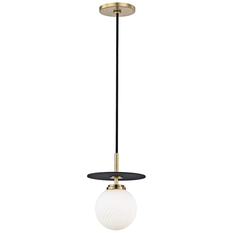 "Mitzi Ellis 7"" Wide Aged Brass and Black LED Mini Pendant"