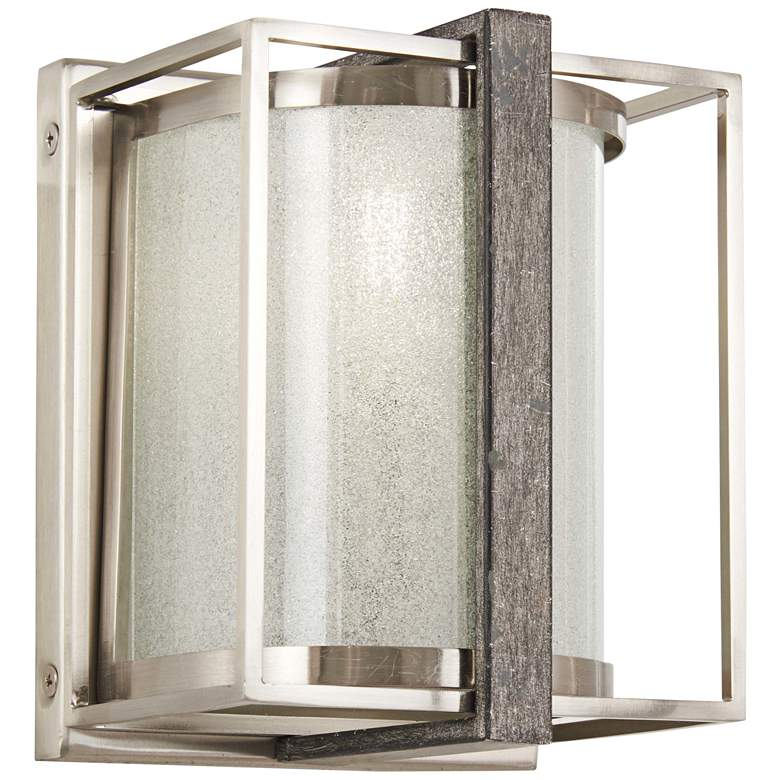 """Tyson's Gate 7""""H Brushed Nickel with Shale Wood Wall Sconce"""