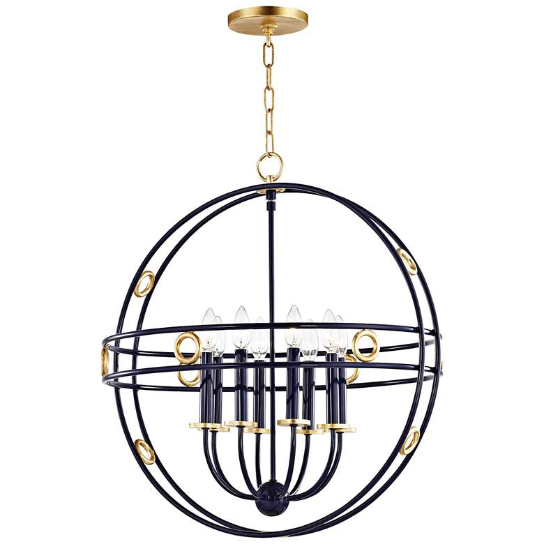 "Mitzi Jade 23 3/4"" Wide Gold Leaf and Navy 8-Light Pendant"