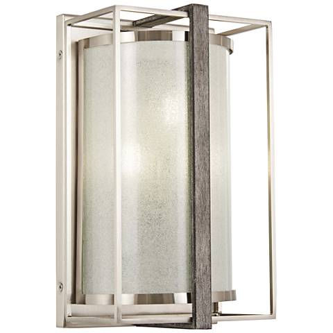 """Tyson's Gate 12""""H Brushed Nickel with Shale Wood Wall Sconce"""