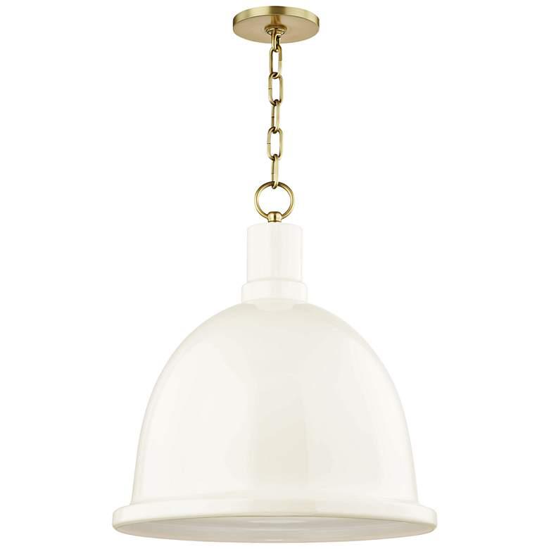 "Mitzi Blair 16"" Wide Aged Brass Pendant Light w/ Cream Shade"