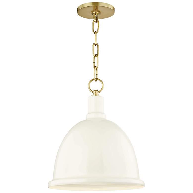"Mitzi Blair 11"" Wide Aged Brass Mini Pendant w/ Cream Shade"