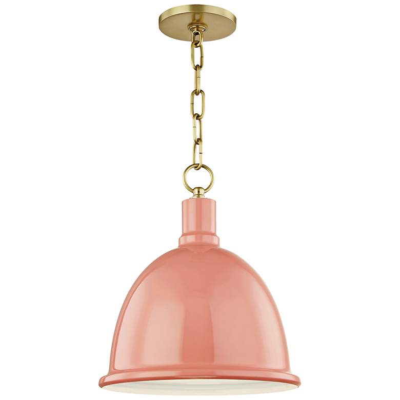 "Mitzi Blair 11"" Wide Aged Brass Mini Pendant w/ Pink Shade"