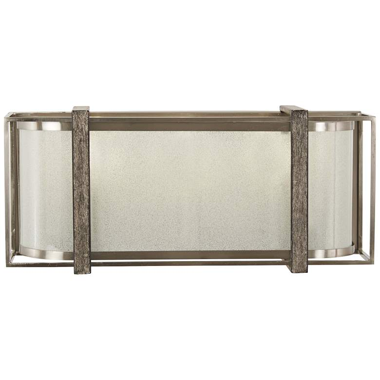 """Tyson's Gate 16""""W Brushed Nickel with Shale Wood Bath Light"""