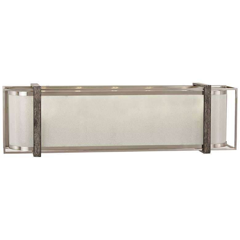 """Tyson's Gate 24""""W Brushed Nickel with Shale Wood Bath Light"""