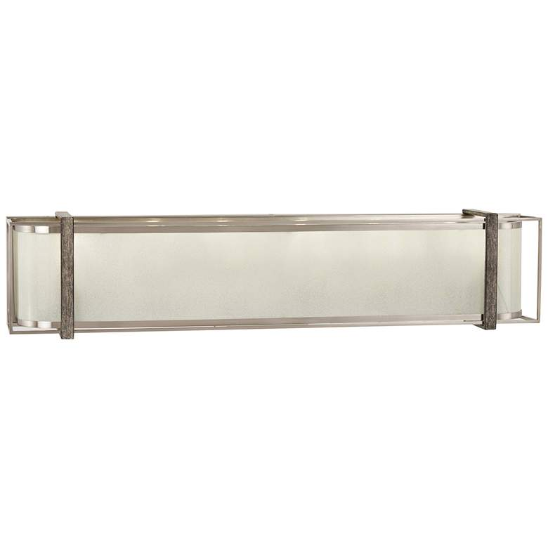 """Tyson's Gate 32""""W Brushed Nickel with Shale Wood Bath Light"""