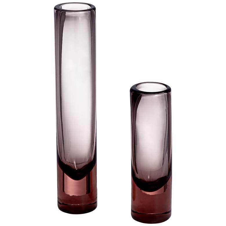 Shari Pink and Gray Glass Vases Set of 2