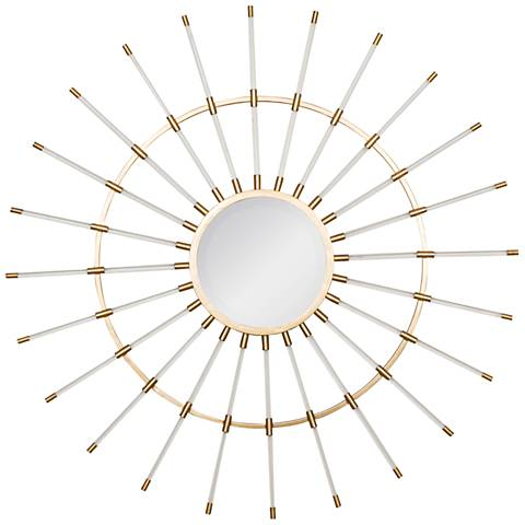 "Kara Acrylic and Gold 36 1/4"" Sunburst Round Wall Mirror"
