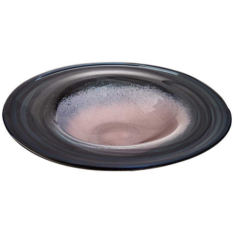 "Celia 17 3/4"" Wide Pink and Navy Decorative Glass Plate"