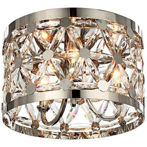 "Maxim Cassiopeia 14""W Polished Nickel 3-Light Ceiling Light"