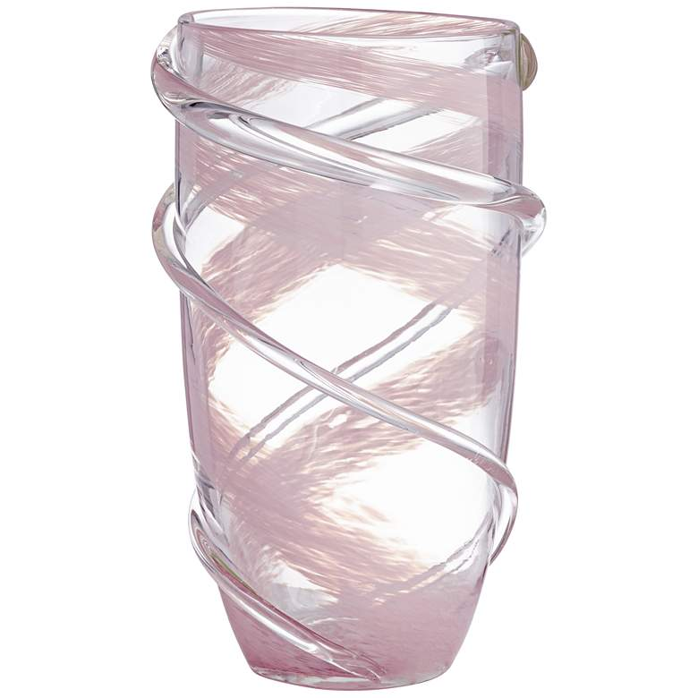 "Nettie 10 1/4"" High Pink Stripe Clear Glass Vase"