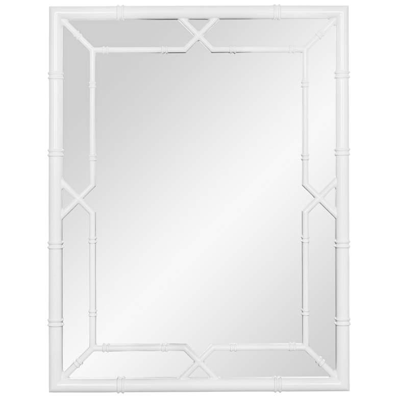 "Elisa Glossy White 28 1/4"" x 36"" Bamboo Wall Mirror"