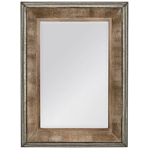 "Thompson Reclaimed Wood and Metal 28 3/4"" x 39"" Wall Mirror"