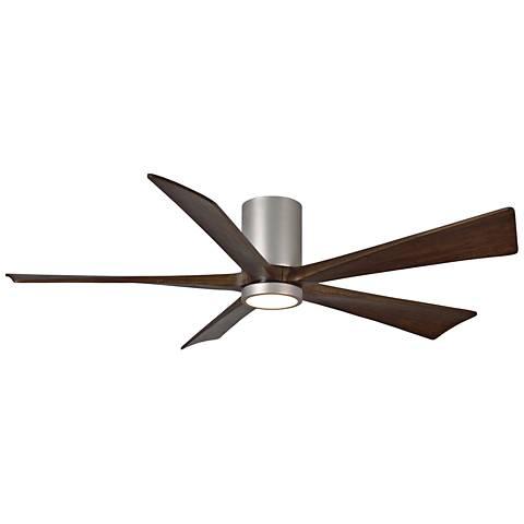 """60"""" Matthews Irene-5H Brushed Nickel Hugger LED Ceiling Fan"""