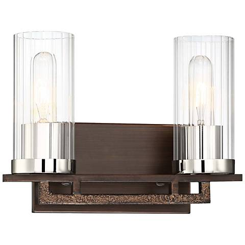 "Maddox Roe 9"" High Iron Ore 2-Light Wall Sconce"