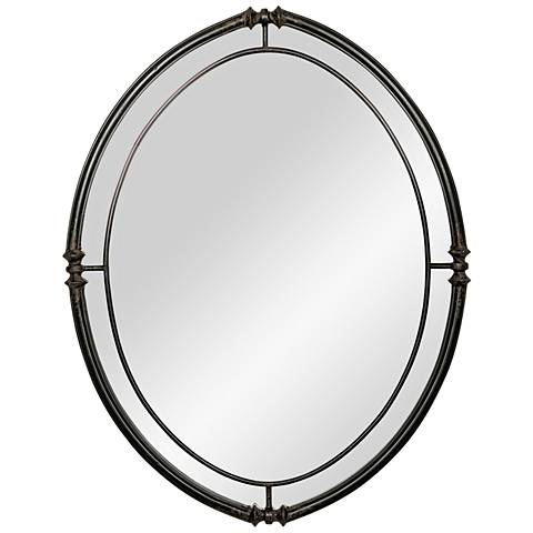"Shaina Distressed Black Matte 28 1/2"" x 36 1/2"" Wall Mirror"