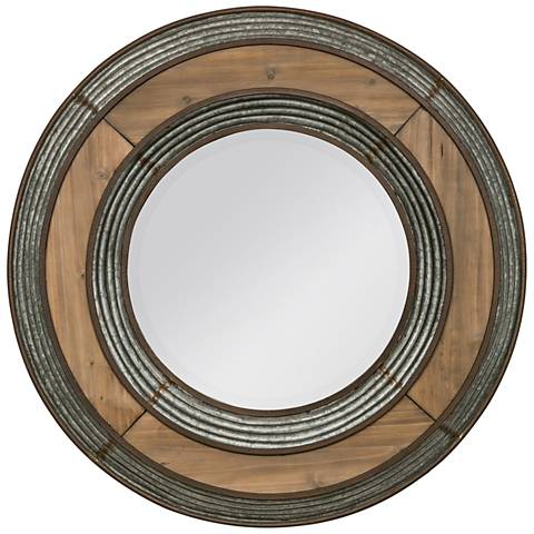"""Robyn Reclaimed Wood and Galvanized 33"""" Round Wall Mirror"""