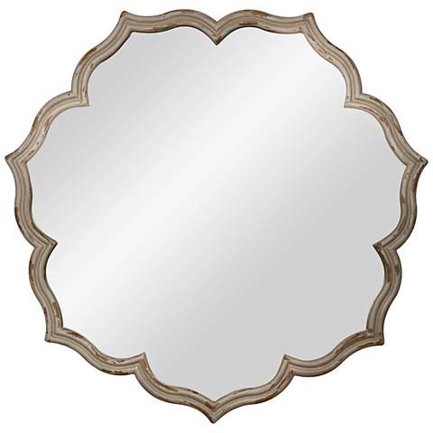 """Blevin Distressed Beige 35"""" Round Wall Mirror"""