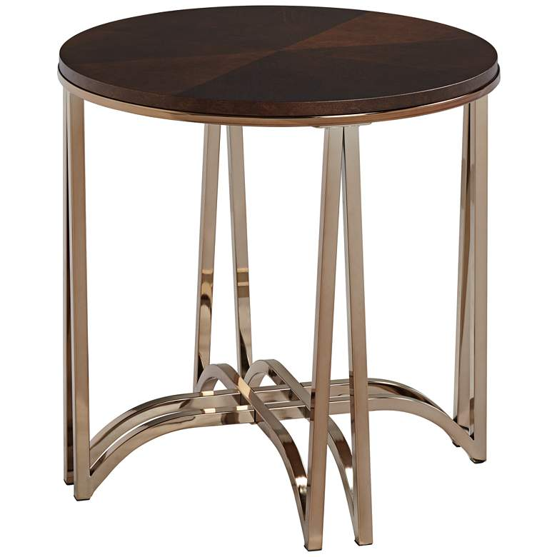 """Novus 23 3/4"""" Wide Wood Top Round Modern Accent Table"""