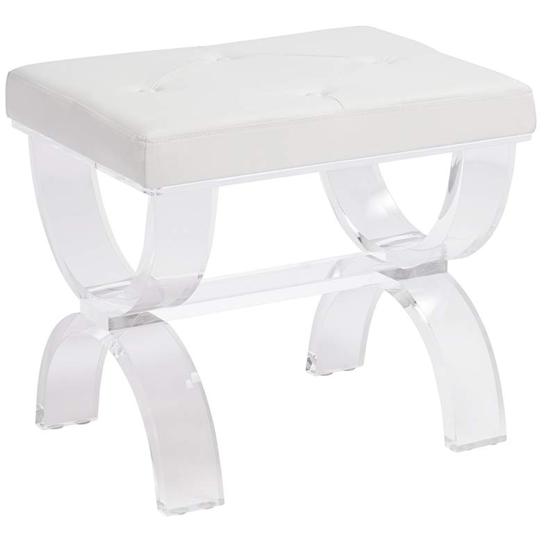 Clarkia White Faux Leather and Clear Acrylic Ottoman