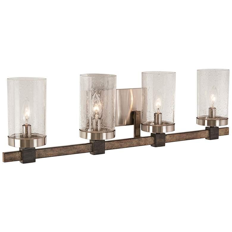 """Bridlewood 31"""" Wide Brushed Nickel 4-Light Bath Light"""