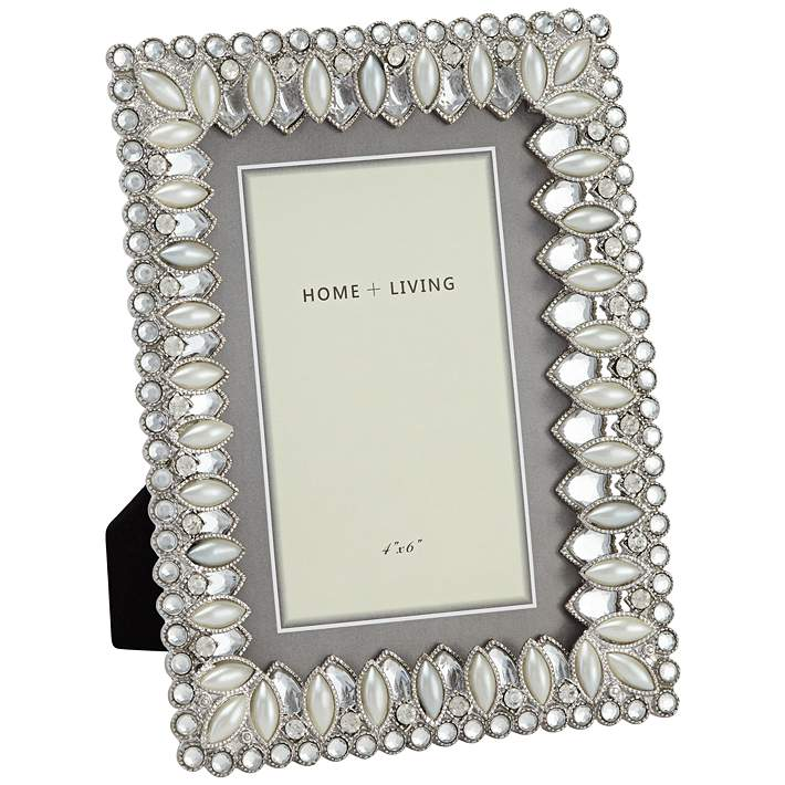 Modern Jeweled Silver 4x6 Photo Frame 47h31 Lamps Plus