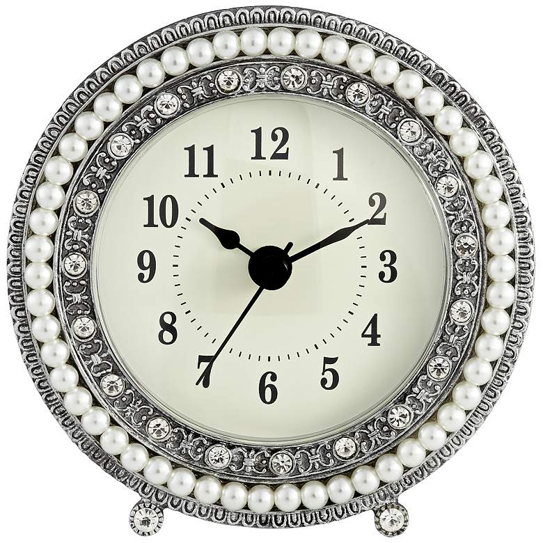 "Freya 4 1/2"" Round Silver Table Clock"