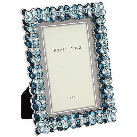 Modern Jeweled Blue 4x6 Photo Frame 47h34 Lamps Plus