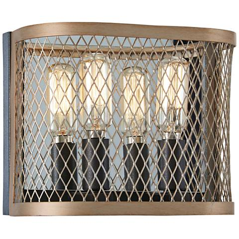 "Marsden Commons 6 1/2""H Iron and Gold 2-Light Wall Sconce"