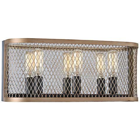 "Marsden Commons 15 1/2""W Iron and Gold 3-Light Bath Light"