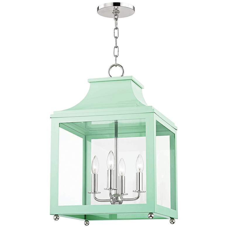 """Mitzi Leigh 16""""W Polished Nickel and Mint 4-Light Pendant"""