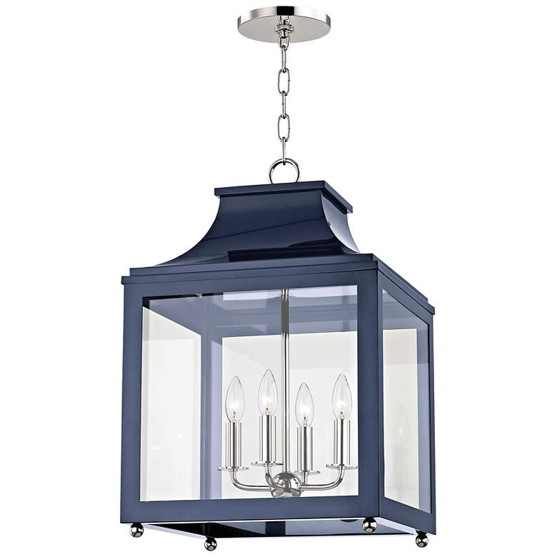 "Mitzi Leigh 16""W Polished Nickel and Navy 4-Light Pendant"