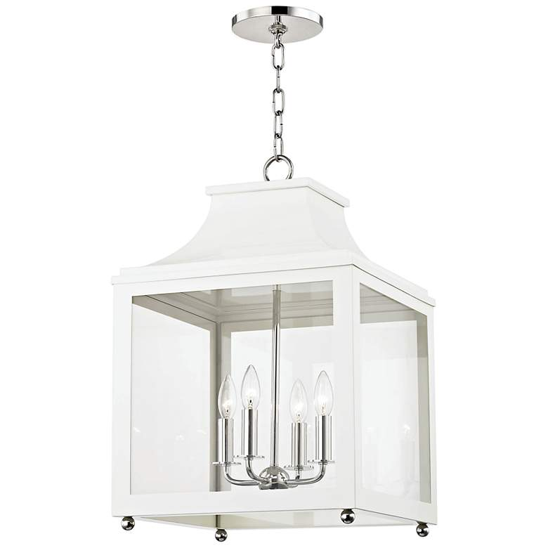 """Mitzi Leigh 16""""W Polished Nickel and White 4-Light Pendant"""