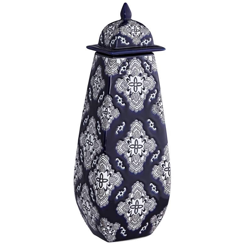 "Villa 17 3/4"" High Blue Flower Ceramic Jar with Lid"