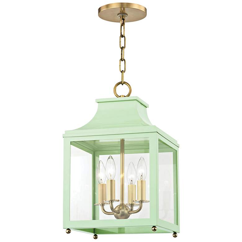 "Leigh 11 1/2""W Aged Brass and Mint 4-Light Mini Pendant"