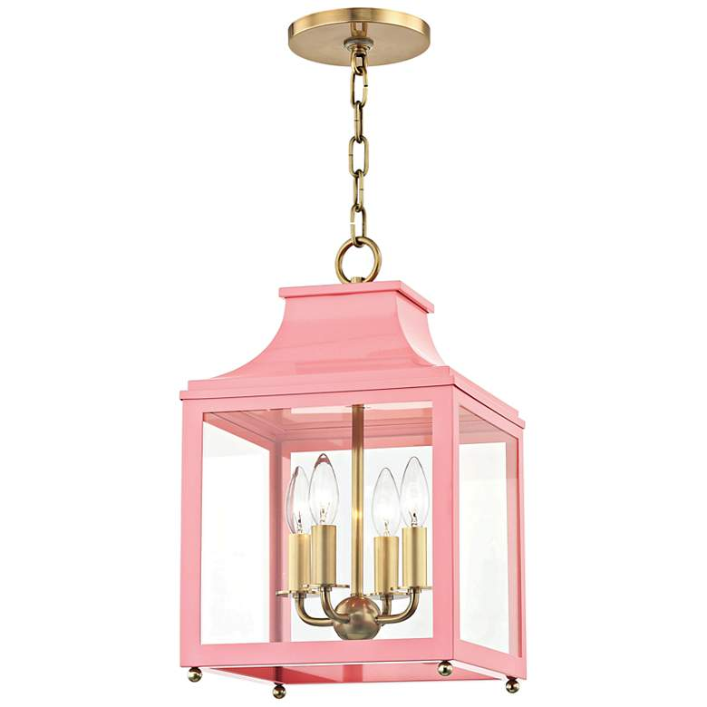 "Leigh 11 1/2""W Aged Brass and Pink 4-Light Mini Pendant"