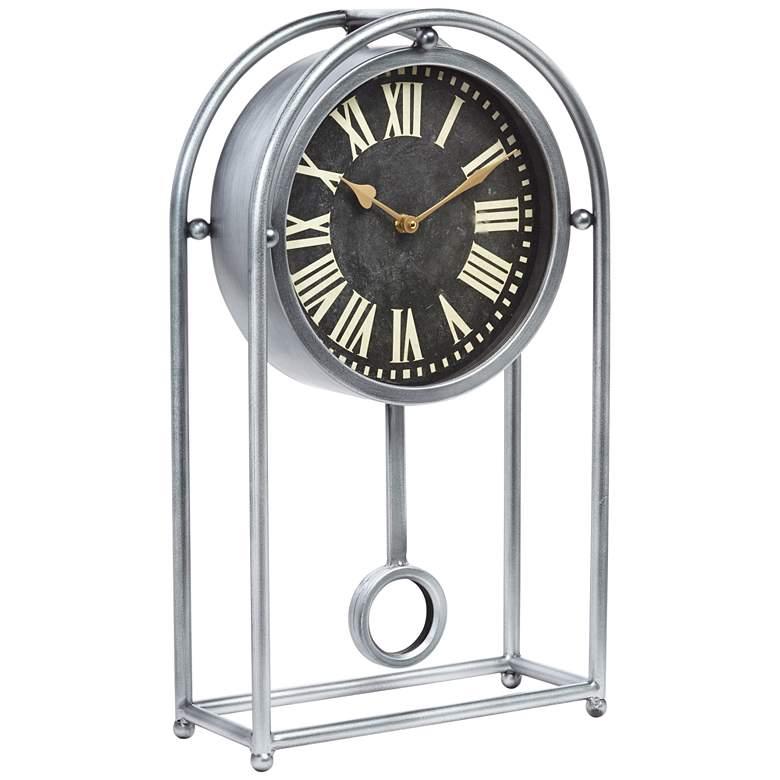 "Ellerby Glossy Silver 20 1/4"" High Metal Table Clock"