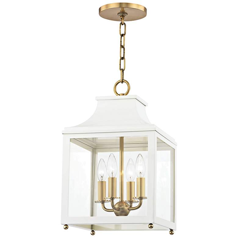 """Leigh 11 1/2""""W Aged Brass and White 4-Light Mini Pendant"""
