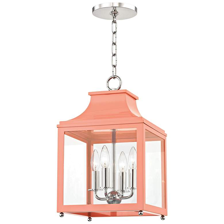 "Leigh 11 1/2""W Polished Nickel and Pink 4-Light Mini Pendant"