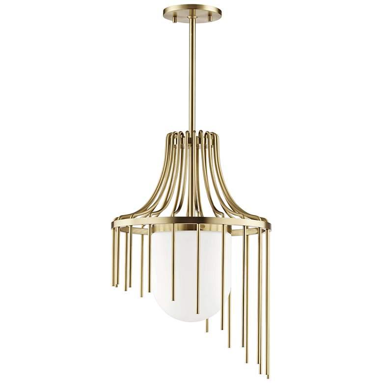 """Mitzi Kylie 16"""" Wide Aged Brass Pendant Light"""