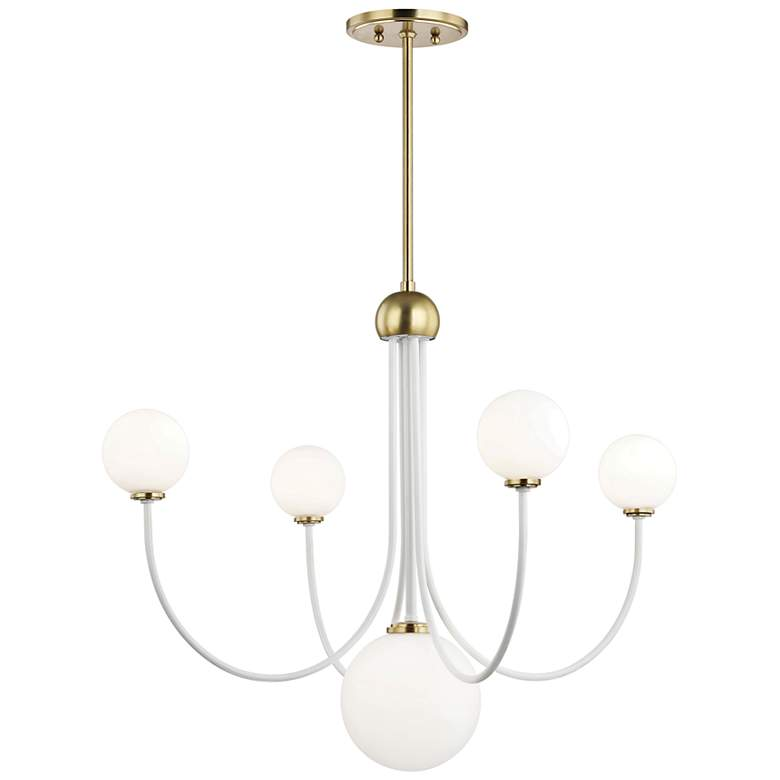 "Mitzi Coco 30""W Aged Brass and White 5-Light LED Chandelier"