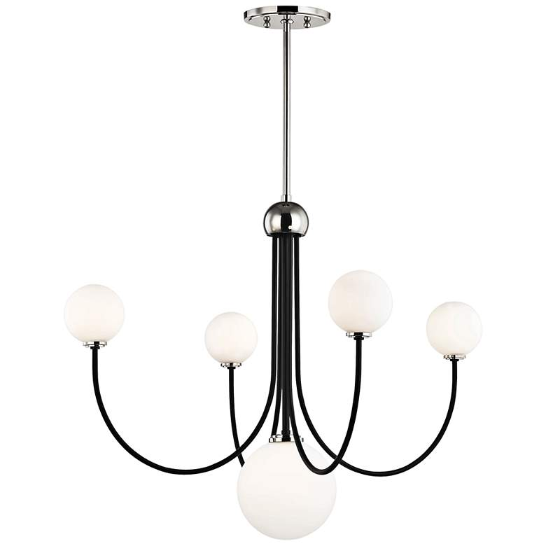 """Coco 30""""W Polished Nickel and Black 5-Light LED Chandelier"""