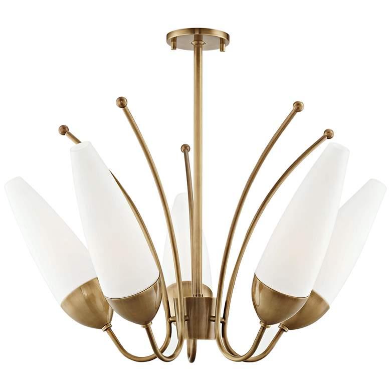 "Mitzi Amee 28 3/4"" Wide Aged Brass 5-Light Chandelier"