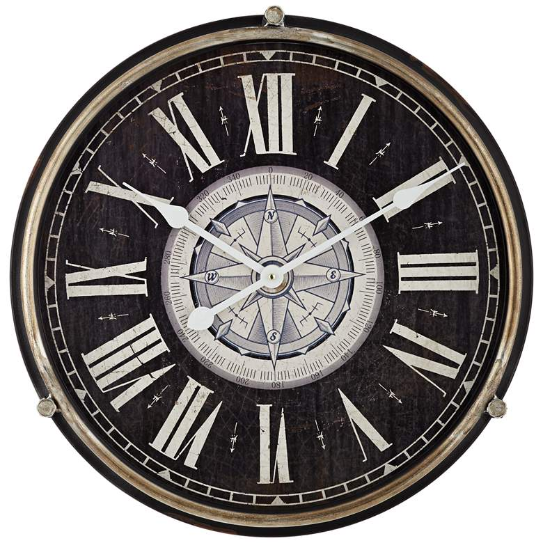 "Carson Glossy Black 21 1/4"" High Round Wall Clock"