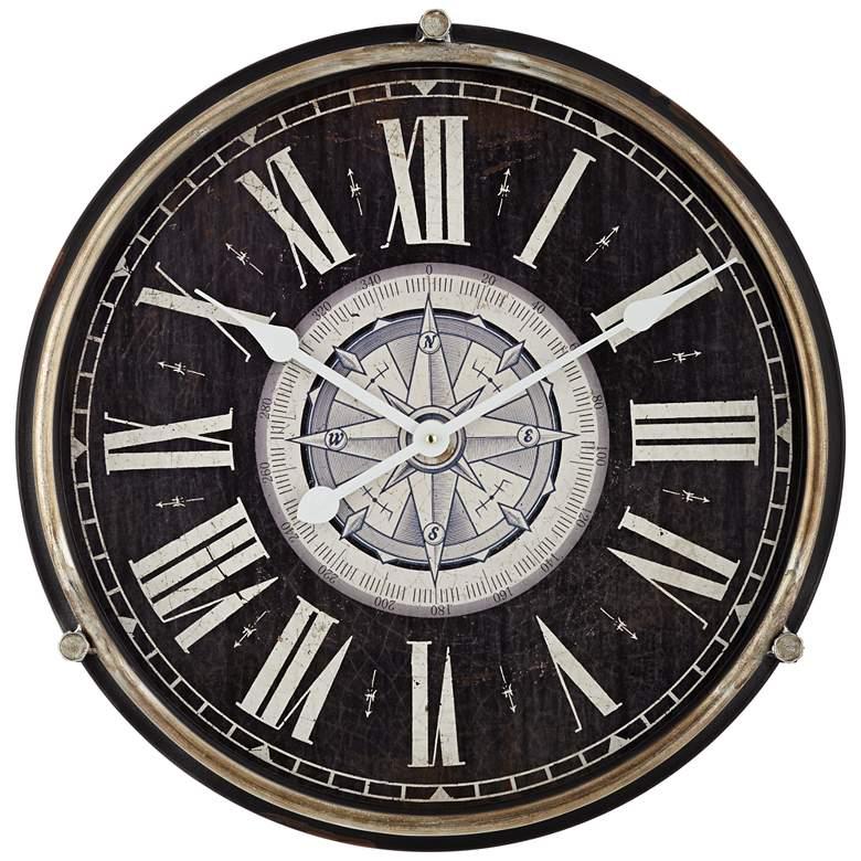 "Carson Glossy Black 21 1/4"" High Round Metal Wall Clock"