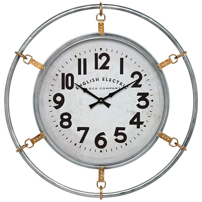 "Swindon Glossy Silver 29 1/4"" High Round Wall Clock"