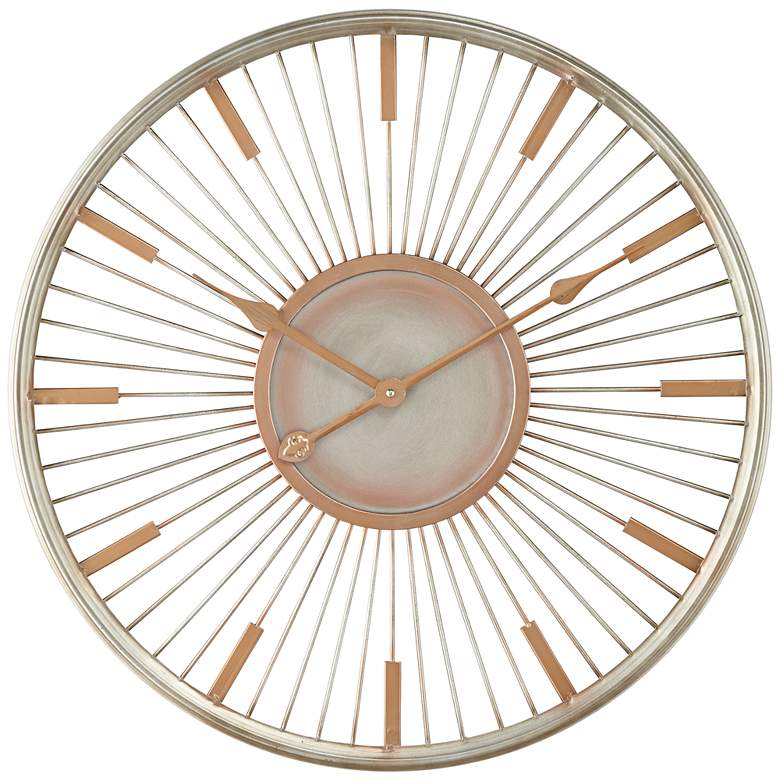 "Collins Glossy Silver 23 3/4"" High Round Wall Clock"