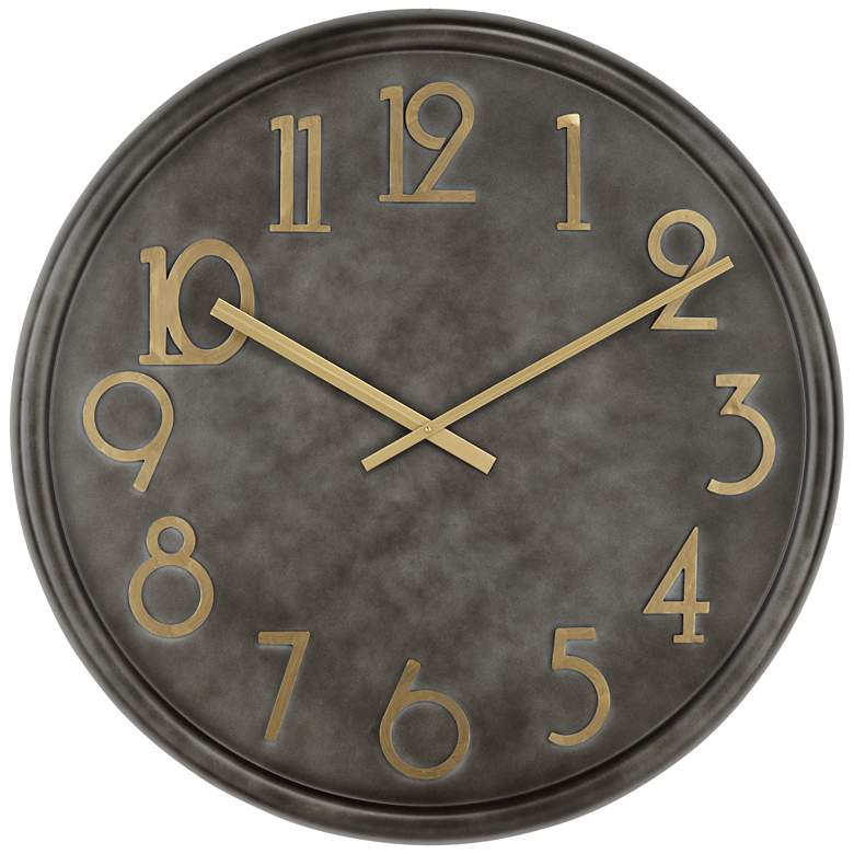 Parker Black Metal Wall Clock with Gold Numbers