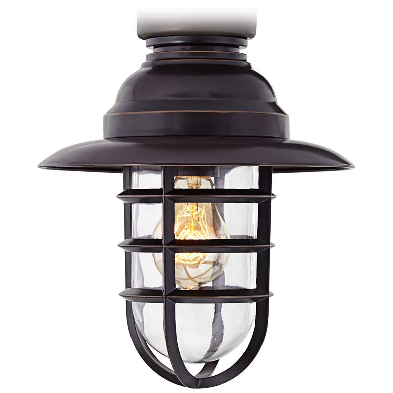 Marlowe Bronze Hooded Metal Cage LED Ceiling Fan