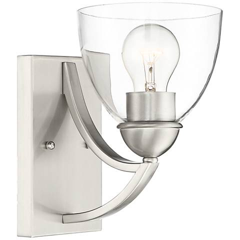 "Milbury 9"" High Satin Nickel and Clear Glass Wall Sconce"